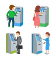 people using atm machine vector image
