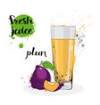 plum juice fresh hand drawn watercolor fruit and vector image