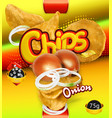 potato chips onion flavor design packaging 3d vector image vector image