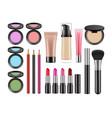 realistic decorative cosmetics lipstick blush vector image vector image