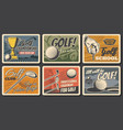retro posters golf club league championship vector image vector image
