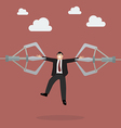 Robotic claws are tear businessman apart vector image vector image