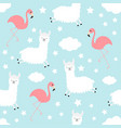 seamless pattern alpaca llama flamingo cloud star vector image