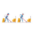 set of male and female janitor mopping vector image vector image