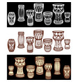 set of tribal african drums vector image vector image