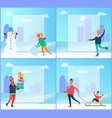 snowman and people winter set vector image vector image