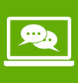 speech bubbles on laptop screen icon green vector image vector image