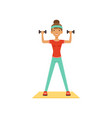 sportive young woman character exercising with vector image vector image