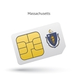 State of Massachusetts phone sim card with flag vector image vector image