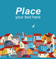 template with sea colorful houses and sample text vector image vector image