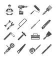 Tools Icons Black Set vector image vector image
