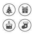 winter season and christmas new year icons set vector image