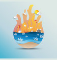 world oceans day concept design with paper art vector image vector image