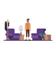 young man with beard on livingroom vector image vector image