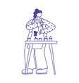 young woman making sweet pastry cakes isolated vector image