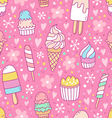 Yummy ice cream on pink background seamless vector image vector image