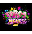 Party Here Colorful invitation background vector image