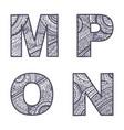 letters set m-p vector image