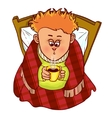 Little freezing man drinks hot drink in bed vector image