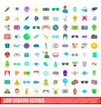 100 vision icons set cartoon style vector image vector image