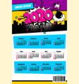 2020 colored calendar pop art style vector image vector image