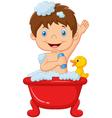 Cartoon child taking a bath