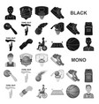 basketball and attributes black icons in set vector image