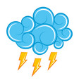 blue cloud thunderbolt storm cartoon image vector image vector image