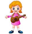 cartoon girl with a guitar vector image