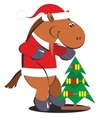 Cartoon horse with a Christmas tree 010 vector image vector image