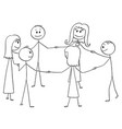 cartoon of group of six people standing in circle vector image