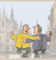 cartoon two drunken singing men walking around vector image vector image