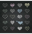 Chalk Drawing Heart Shapes with Doodle vector image vector image
