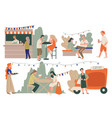 coffee stalls and trucks selling outdoors small vector image