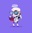 cute robot loading wear glasses isolated icon on vector image vector image