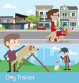 Dog trainer training vector image
