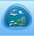 dolphins in sea aircraft in the sky resort with vector image vector image