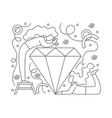 flat girl jewelers around diamond vector image