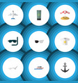 flat icon summer set of clothes scuba diving vector image vector image