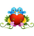 floral ornament with heart and blue birds vector image