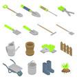 gardening tools icons set isometric style vector image