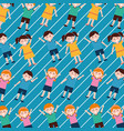 girls and boys happy cartoon pattern striped vector image