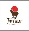 goat logo standing animal cartoon vector image vector image