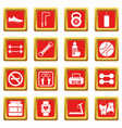 gym icons set red vector image