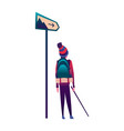 hiking man with backpack near sign traveller or vector image