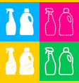 household chemical bottles sign four styles of vector image