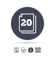 in pack 20 sheets sign icon 20 papers symbol vector image vector image