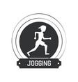 joggin people label vector image vector image