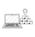 laptop and boxes in black and white vector image vector image