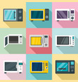 microwave icon set flat style vector image